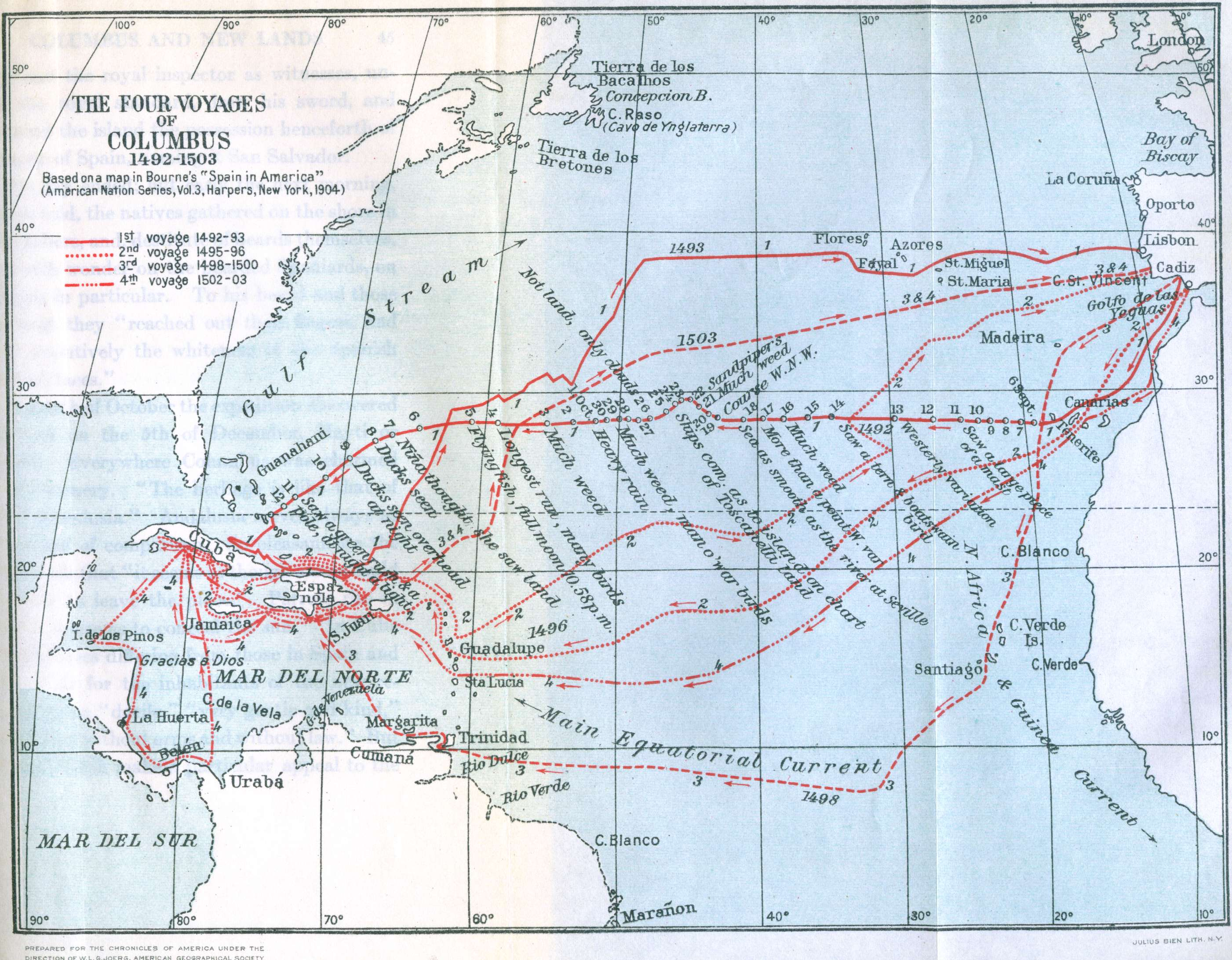 Map of columbus voyages nation of islam research group map of columbus voyages malvernweather Images
