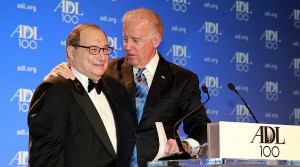 "Vice President Joe Biden, right, sings ""happy birthday"" to Abraham H. Foxman, National Director of the Anti-Defamation League. Biden, a surprise guest at the ADL's Centennial Gala, April 30 in Washington D.C., spoke about the agency's achievements in combating anti-Semitism and bigotry over the past century ( Photo/ David Karp)"