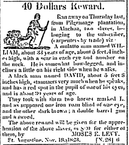 Jewish slave-owner Moses Levy uses newspaper to chase down self-emancipated Black man.